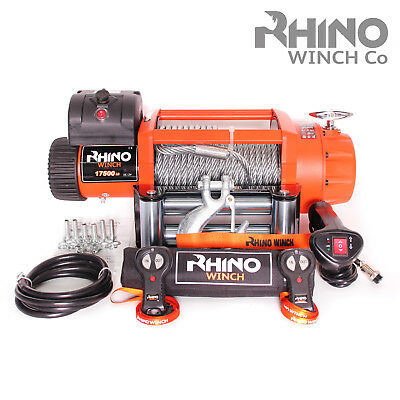 Electric Recovery Winch, 24v 17500lb Heavy Duty Steel Cable, 4x4, Truck - RHINO