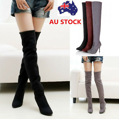 Winter Women Over Knee Pointed Toe Boots High Heel Stiletto Suede Long Boots