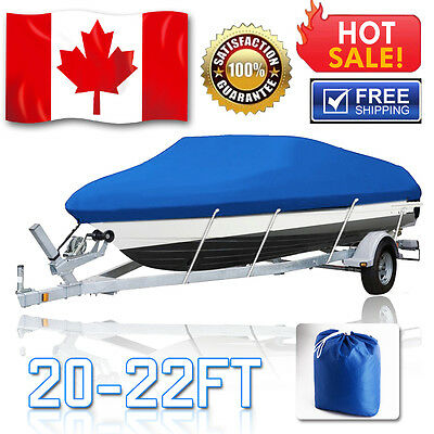 "20-22 Ft Trailerable 210D Boat Cover Waterproof V-Hull Beam Heavy Duty 100"" BLUE"