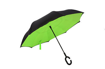 Double Layer Inside-Out Reverse Umbrella C-Handle Windproof Upside Down Yellow