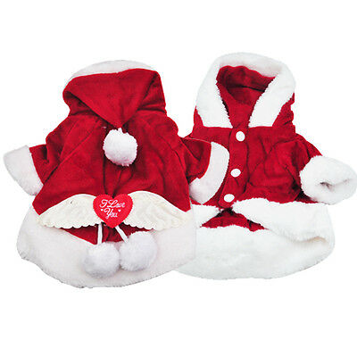 Pet New Puppy Cat Dog Santa Claus recd Costume Clothes Apparel Suit M Red
