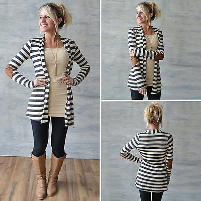 Womens Striped Long Sleeve Knitted Cardigan Casual Loose Sweater Outwear Coat