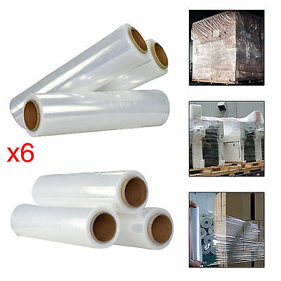 6x Strong Roll Transparent Pallet Stretch Shrink Wrap Parcel Packing Cling Film