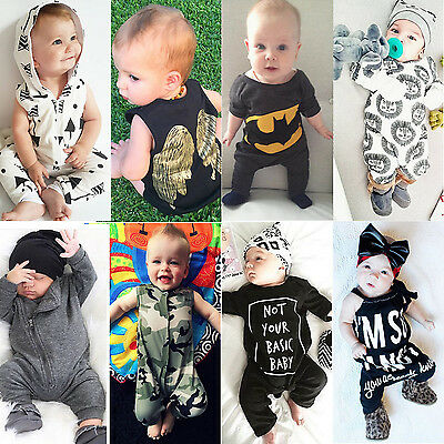 US Stock Toddler Newborn Baby Girl Boy Romper Bodysuit Jumpsuit Clothes Outfits