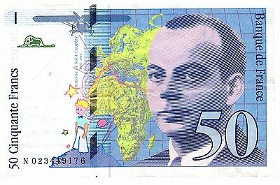 French 50 Francs note Little Prince Saint-Exupéry money bill currency banknote