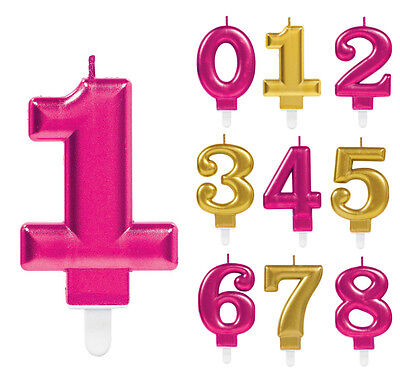 Birthday Candles Numbers Pink & Gold Happy Party Cake Age Decorations