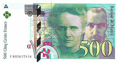 French 500 Francs note Marie Curie Pierre money bill currency banknote