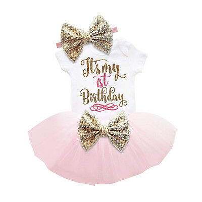 UK Stock Toddler Baby Girls Romper Jumpsuit +Skirts Headband Clothes Outfits Set