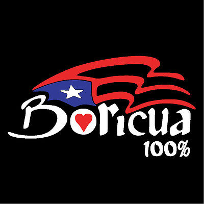 PUERTO RICO CAR DECAL STICKER Flag with Boricua 100% Letters #96