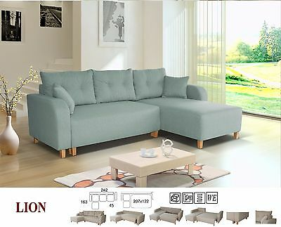 New LION Fabric Corner Sofa Bed Settee With Storage In Grey, Pink, Blue Or