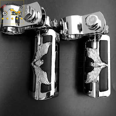 """New black  Eagle 1"""" 1-1/4"""" Foot Pegs Clamps For Harley Sportster Chrome Foot Peg"""