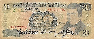 Honduras  20 Lempiras  20.9.1990  Series AA  Circulated Banknote MX8F