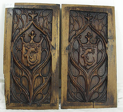 pair 19thC GOTHIC WOODEN OAK PANEL carved  heraldic crowns manor castle n°7
