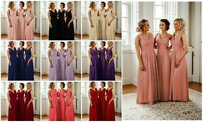 Chiffon V-Neck Bridesmaid Dress A-Line Evening Wedding Prom Maxi Ball Gown Long