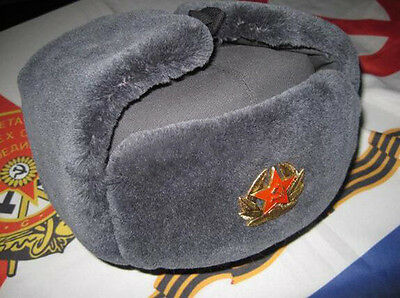 Authentic Soviet and Russian soldier Military Fur Winter cap Army hat with Badge