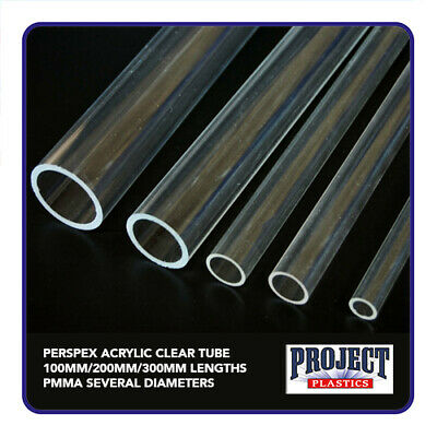 PERSPEX ACRYLIC CLEAR TUBE 100mm/200mm/300mm lengths  PMMA SEVERAL DIAMETERS