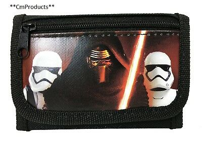 "New Disney Star Wars ""The Force Awaken"" Kylos Tri Fold Wallet Black"