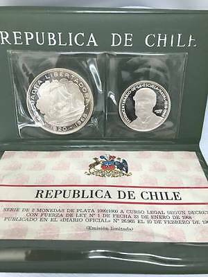 Chile 1968 Two Silver coins Proof Set in Original Wallet  Rare