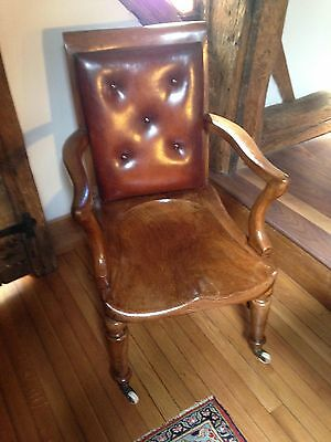 Victorian Elm and leather chair c1840