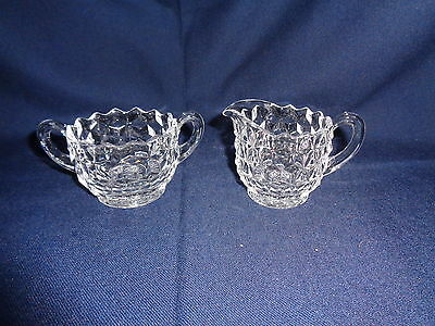Fostoria American Clear Glass Open Sugar Bowl & Creamer