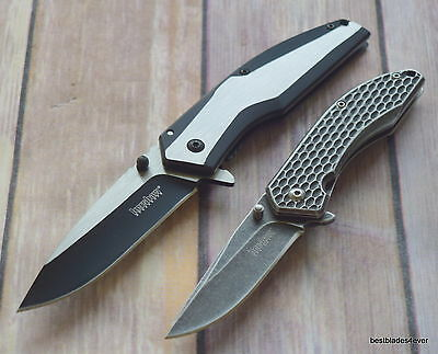 Kershaw 2 Pcs Framelock Combo Pack Spring Assisted Knife With Pocket Clip
