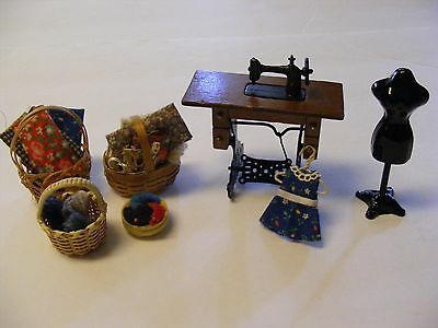 Vintage Dollhouse Miniatures Sewing Room Accessories 1:12 Scale