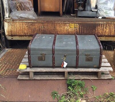 Antique Vintage Bentwood Trunk. Steam Liner Travelling Chest. Steam Punk Prop