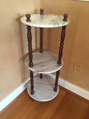 "Vintage 3 Tier Round Marble Top Pedestal Table Stand 12"" Diameter"