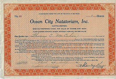 1927 NEW JERSEY Ocean City Natatorium Inc Stock Certificate #49
