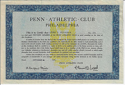 PENNSYLVANIA 1931 Penn Athletic Club Philadelphia Stock Membership Certificate