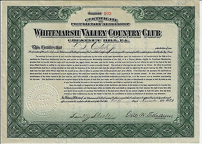 PENNSYLVANIA 1923 Whitemarsh Valley Country Club Chestnut Hill Stock Certificate
