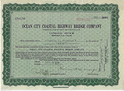 1928 NEW JERSEY Ocean City Coastal Highway Bridge Co Stock Certificate Longport