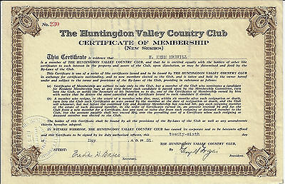 PENNSYLVANIA 1931 Huntingdon Valley Country Club Stock Certificate of Membership