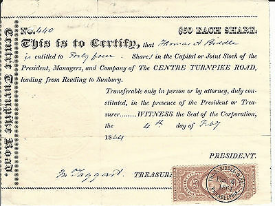 1864 PENNSYLVANIA The Centre Turnpike Road Stock Certificate Reading to Sunbury