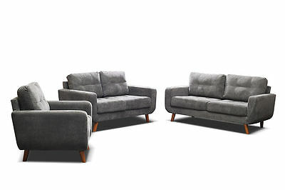 new aurora 3 + 2 seater sofa settee + armchair in grey fabric quality & cheap