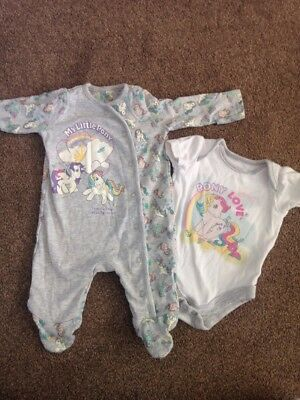 Mothercare My Little Pony Sleepsuits And Vest Up To 1 Month