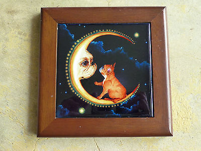 Frenchy French Bulldog Moon Ceramic Tile Wood Framed Plaque Art
