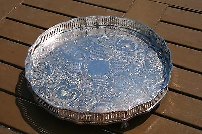 Silver Plated Round Galleried Serving Tray - Presentation Piece