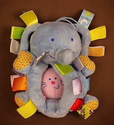 Taggies elephant * Pull VIBRATE lovey security Plush Doll SOFT baby toy sensory