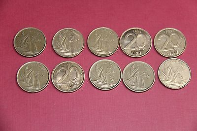 Lot De 10 Pieces De 20 Francs Belges