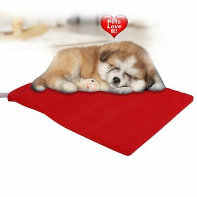 Large 62 X 50cm Pet Pad Bed Electric Heated Cat Dog Puppy Mat Red Fleece Cover