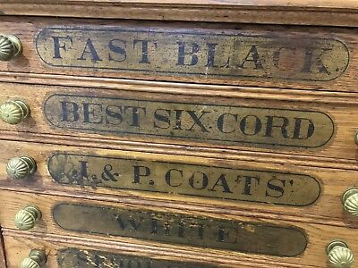 Antique J & P Coats Sewing Thread Spool Cabinet Chest - 6 Drawer