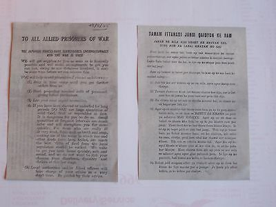 WW2 Leaflets, VJ Day, British & Allied Forces. Far East Prisoners of War,