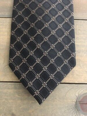 Joseph Abboud Black Gold Geometric Classic Silk Mens Neck Tie