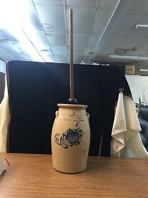 4 Gallon Fort Edward Stoneware Co Butter Churn With Cobalt Decoration