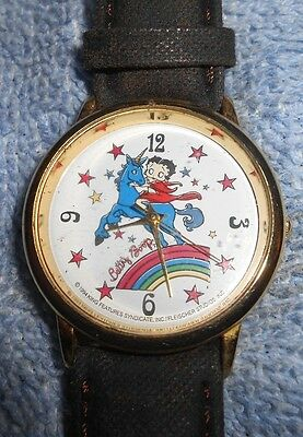 Betty Boop On A Unicorn Over A Rainbow Wristwatch 1994 King Features New Battery