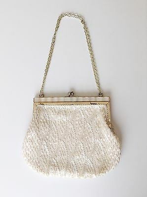 Vintage White Beaded Cocktail Evening Bag Purse Hong Kong Chain Handle Wedding