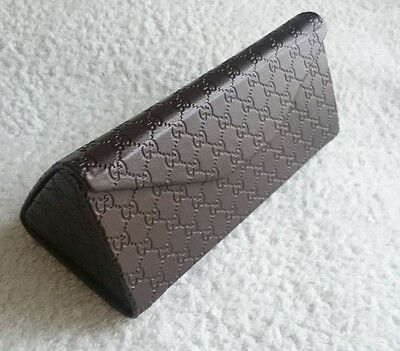 Glasses Case,GUCCI,Brown,Leather,Folding,Big,Hard,Unisex