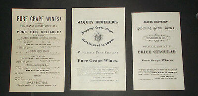3  VINTAGE Price List of Wines - Wholesale List from 1880s