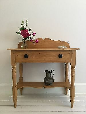 Victorian Rustic Pine Washstand Hall Table Desk Sideboard Shabby Chic Farmhouse